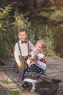 Detské doplnky - NOVINKA Detský folk set traky z gumy a extra vystužený motýlik- čierne - 9932557_