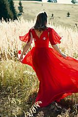 Šaty - Ručne vyšívané červené šaty - 9933547_