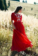 Šaty - Ručne vyšívané červené šaty - 9933548_