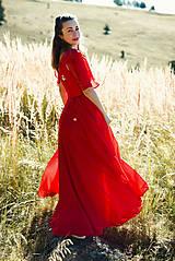 Šaty - Ručne vyšívané červené šaty - 9933552_