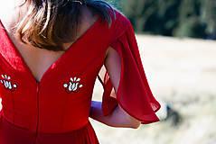 Šaty - Ručne vyšívané červené šaty - 9933566_