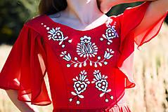 Šaty - Ručne vyšívané červené šaty - 9933567_