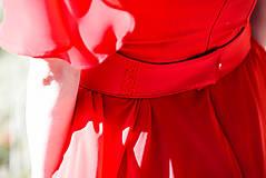 Opasky - Červený opasok s výšivkou - 9933639_