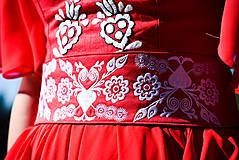 Opasky - Červený opasok s výšivkou - 9933640_