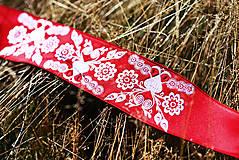 Opasky - Červený opasok s výšivkou - 9933641_