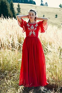 Šaty - Ručne vyšívané červené šaty - 9933549_