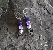 Náušnice sopečné korálky - fialová, srdcia, pásiky, striebro