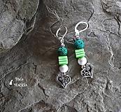 Náušnice sopečné korálky - zelená, srdcia, pásiky, striebro