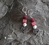 Náušnice sopečné korálky - červená, srdcia, pásiky, striebro