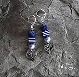 Náušnice sopečné korálky - modrá, srdcia, pásiky, striebro