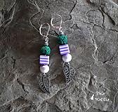 Náušnice sopečné korálky - zelená, fialová, lístky, pásiky, striebro