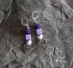 Náušnice - Náušnice sopečné korálky - fialová, srdcia, pásiky, striebro - 9931857_