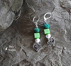 Náušnice - Náušnice sopečné korálky - zelená, srdcia, pásiky, striebro - 9931931_
