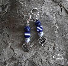 Náušnice - Náušnice sopečné korálky - modrá, srdcia, pásiky, striebro - 9931962_