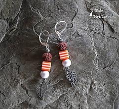 Náušnice - Náušnice sopečné korálky - oranžová, lístky, pásiky, striebro - 9931987_