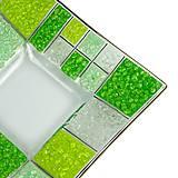 Nádoby - Sklenená zelená miska CORAL karo - 9934374_