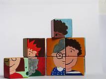 Hračky - Drevené kocky - tváričky - 9931429_