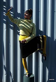 Sukne - Lona -sukně s asymetrickým cípem a proužky - 9934712_