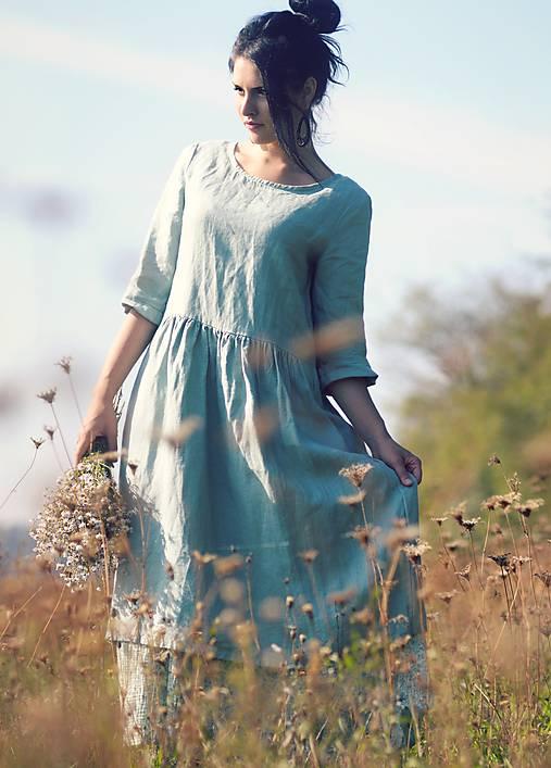 Šaty - Zelené šaty lněné - 9931885_
