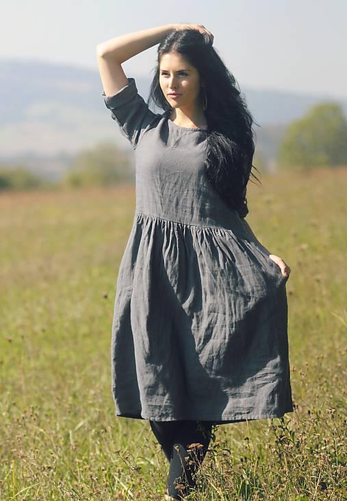 Šaty - Šedé šaty lněné - 9932655_