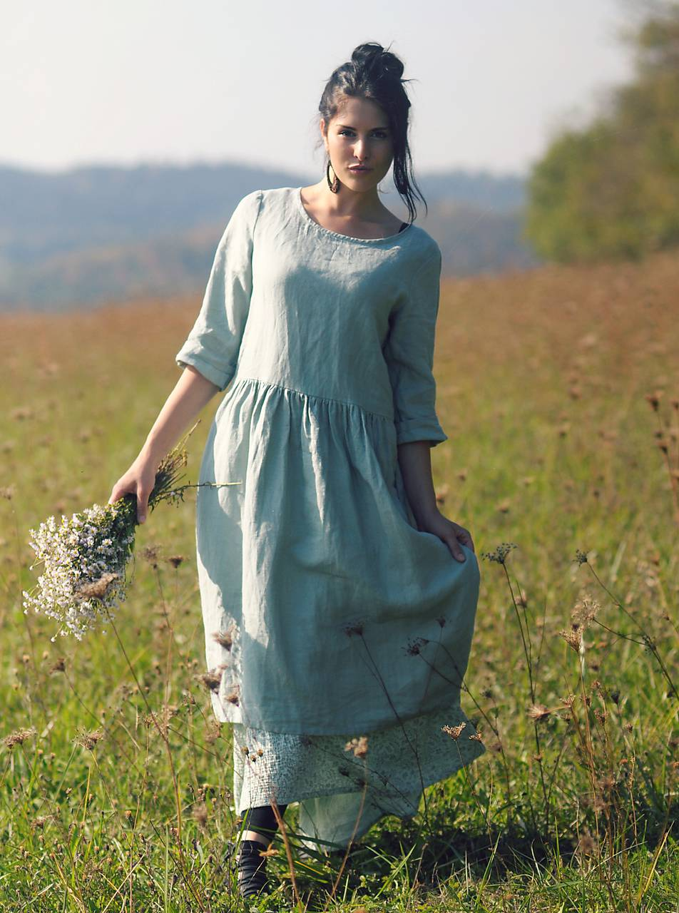 Zelené šaty lněné