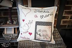 """Úžitkový textil - Vankúšik pre mladomanželov """"Danka a Maroš"""" - 9937536_"""