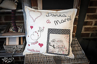 Úžitkový textil - Vankúšik pre mladomanželov