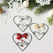 Dekorácie - vianočné srdiečka 10cm - 9935540_