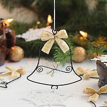 Dekorácie - vianočné zvončeky 10cm (Zlatá) - 9935684_