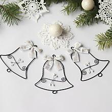 Dekorácie - vianočné zvončeky 10cm (Biela) - 9935724_