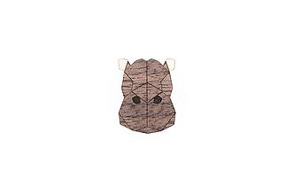 Odznaky/Brošne - Drevená brošňa Hippo Brooch - 9935386_