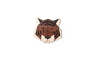 Odznaky/Brošne - Drevená brošňa Tiger Brooch - 9935412_
