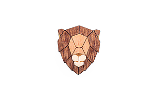Odznaky/Brošne - Drevená brošňa Lion Brooch - 9935420_