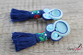 Náušnice - šujtášové náušnice modré so strapčekom - 9935550_