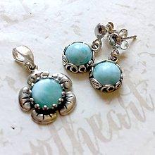 Sady šperkov - Vintage flower Larimar AG 925 Earrings & Pendant Set / Sada strieborných šperkov s larimarom /0010 - 9935099_
