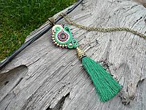 - VÝPREDAJ! Soutache náhrdelník/prívesok INDIA - 9937803_