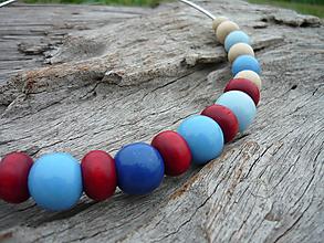 Náhrdelníky - VÝPREDAJ! Námornický Náhrdelník...drevené korálky - 9937741_
