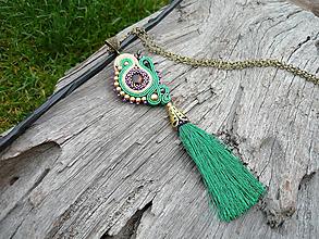 Náhrdelníky - VÝPREDAJ! Soutache náhrdelník/prívesok INDIA - 9937803_