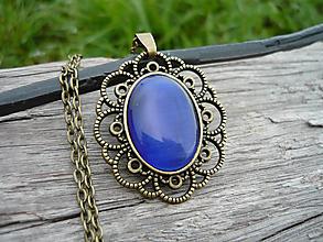 Náhrdelníky - VÝPREDAJ! Náhrdelník Filigránový...aqua dark blue - 9938275_
