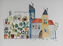 Obrazy - Mesto skleník  ilustrácia / originál maľba  - 9936671_