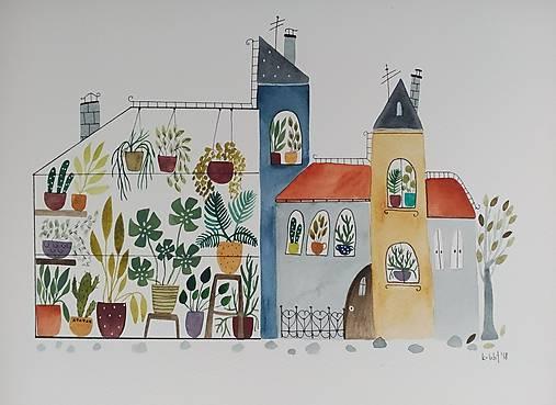 Mesto skleník  ilustrácia / originál maľba