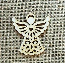 Polotovary - Výrez z preglejky - anjel, vyrezávaný - 7 cm - 9936724_