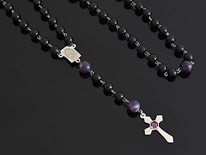 Iné šperky - RŮŽENEC - ONYX - AMETYST - 9936959_