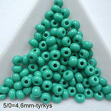 Korálky - Rokajl 5/0 PRECIOSA 4,6mm-10g (tyrkys) - 9935580_
