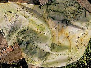Šatky - Pampelišky / hedvábný šátek 55 x 55 cm/ - 9937593_