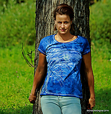 Tričká - Dámske tričko batikované, maľované  MESAČNÝ SVIT - 9935436_