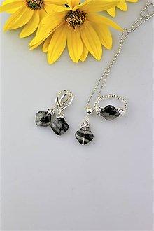 Prstene - turmalín prsteň, náušnice, prívesok - súprava - 9936015_