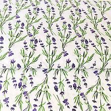 Textil - akvarelová levanduľa; 100 % bavlna, šírka 140 cm - 9935493_
