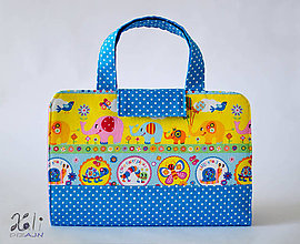 Detské tašky - Detský kufrík - pastelkovník Sloníky modré - 9936927_