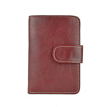 Peňaženky - Dámska praktická kožená peňaženka s bohatou výbavou, bordová farba - 9937251_